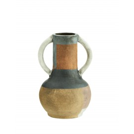vase terre cuite artisanal  fleurs sechees multicolore madam stoltz