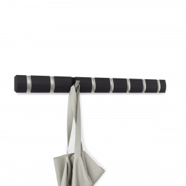 umbra flip 8 portemanteau barre bois fonce flotte 8 pateres metal