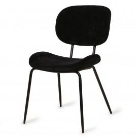 hk living chaise rembourree tissu velours cotele noir
