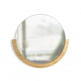 umbra mira miroir mural rond bois clair demi cercle style chic