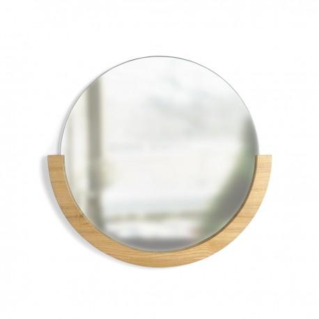 umbra mira miroir mural rond bois clair demi cercle style chic