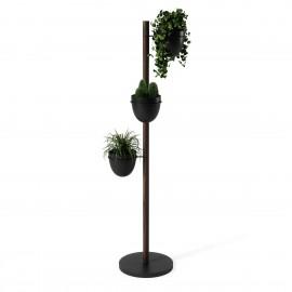 porte plantes moderne vertical bois fonce noir umbra floristand