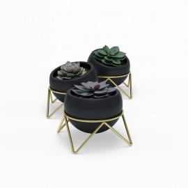 umbra potsy 3 cache pots design ceramique noire support metal laiton