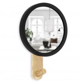umbra hub petit miroir mural rond avec patere bois clair
