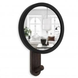 umbra hub petit miroir rond patere bois fonce noir