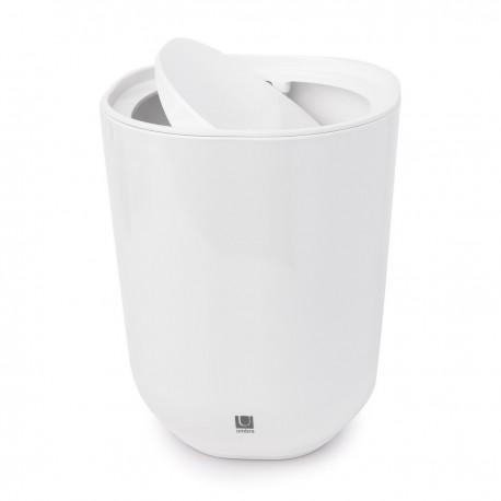 umbra step poubelle de salle de bains blanche couvercle basculant