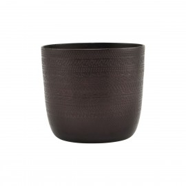 house doctor cappra cache pot aluminium grave brun antique