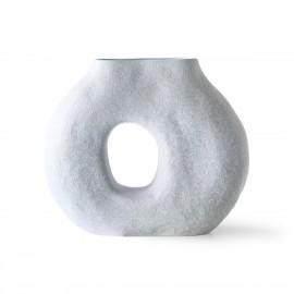 hk living vase rond forme organique effet givre bleu