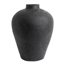 muubs luna 40 grand vase jarre terre cuite noire surface lunaire