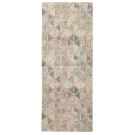 nordal tapis long motifs triangles rose pastel 75 x 200 cm