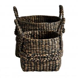 Set de 2 paniers tressés avec anses jacinthe d'eau Muubs noir