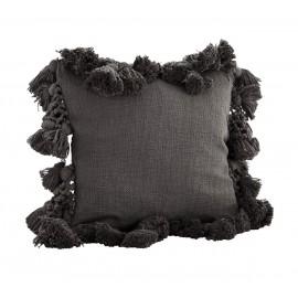 madam stoltz housse de coussin carre pompons tassels  45 x 45 cm gris