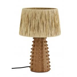 madam stoltz lampe style artisanal rustique terre cuite raphia