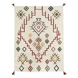madam stoltz tapis blanc broderie style ethnique multicolore