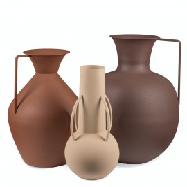 pols potten roman brown set de 3 vases metal