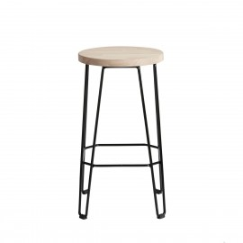 muubs tabouret de bar epure rond metal bois chene clair