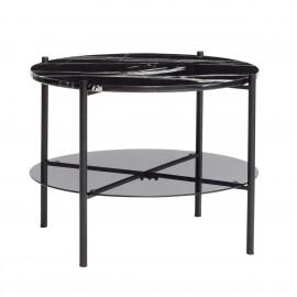 hubsch table basse marbre noir ronde metal noir