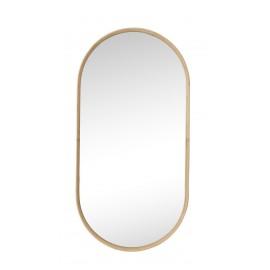 hubsch miroir mural ovale cadre bois de bambou  style scandinave