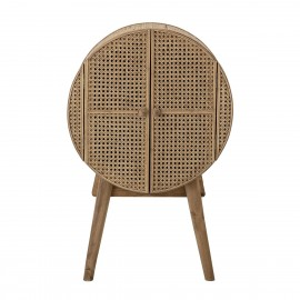 bloomingville otto petit meuble rangement rond bois rotin cannage