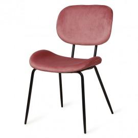 hk living chaise rembourree confortable velours vieux rose metal noir