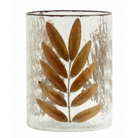 nordal vase en verre decoration vegetale feuilles marron
