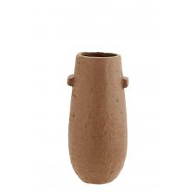 madam stoltz petit vase rustique ovale gres rouge terracotta