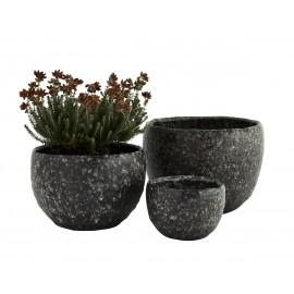 madam stoltz set de 3 cache pot style pierre de lave noire gres