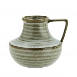 vase rustique avec poignee gres vert madam stoltz