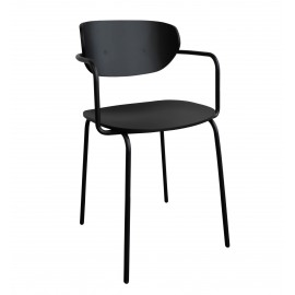 hubsch chaise design epure avec accoudoirs bois metal noir