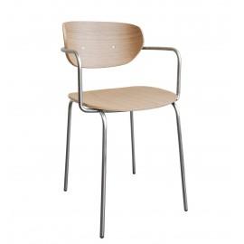 hubsch chaise design scandinave bois clair metal avec accoudoirs