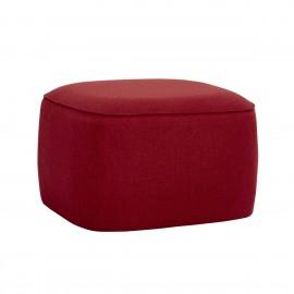 hubsch pouf carre design tissu rouge