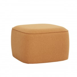 hubsch pouf design carre tissu jaune moutarde orange