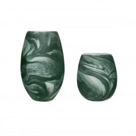 vase en verre effet marbre vert hubsch set de 2