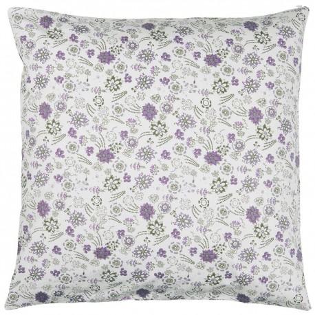 ib laursen taie oreiller coton imprime fleurs mauve 50 x 50 cm