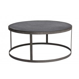 muubs low table basse ronde epuree pierre noire metal noir