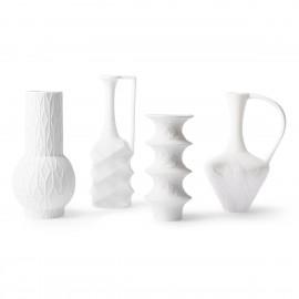 hk living set de 4 vases design en biscuit de porcelaine blanc mat