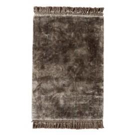 tapis tufte epais gris franges nordal noble 75  x 200 cm