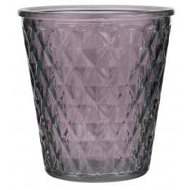 bougeoir photophore verre travaille relief aubergine violet ib laursen