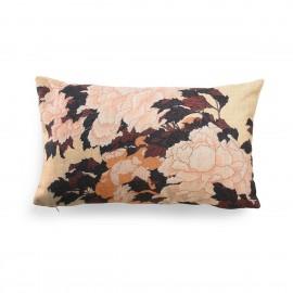 Coussin réversible motif fleuri japonais et géométrique HK Living