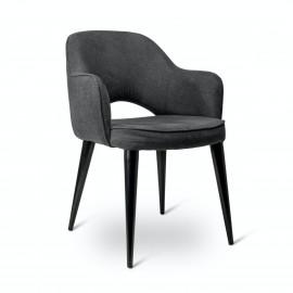 Chaise avec accoudoirs pieds métal Pols Potten Cosy gris
