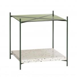 hubsch table basse carree terrazzo verre metal vert