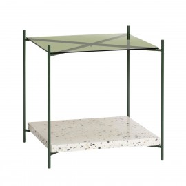 Table basse carrée terrazzo verre métal Hübsch vert