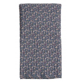 plaid matelasse imprime bleu fleurs roses bloomingville