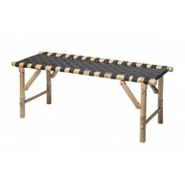 banc pliable bambou et textile noir bloomingville vida