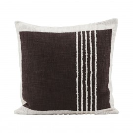 Housse de coussin rayures coton House Doctor Yarn marron