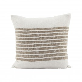 house doctor yard coussin carre raye marron clair beige 50 x 50 cm