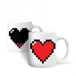 Kikkerland Mug with Pixellated Heart Design