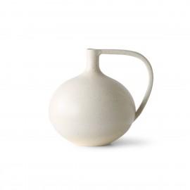 hk living vase boule design gres blanc creme poignee design