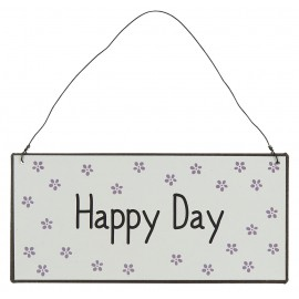 plaque deco murale metal message positif ib laursen happy day