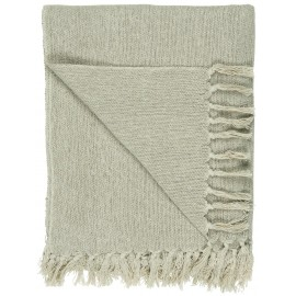 plaid coton uni ecru creme franges ib laursen 130 x 160 cm